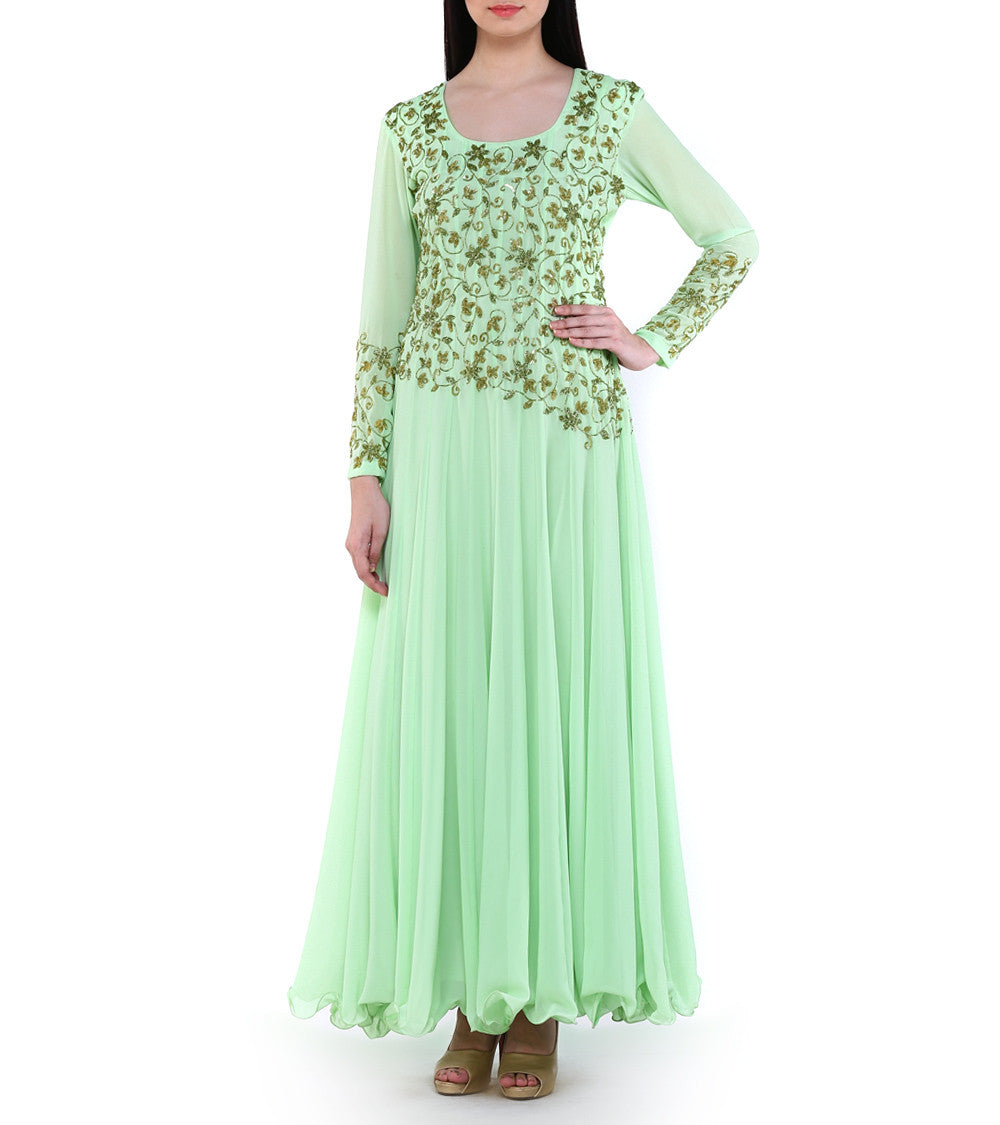 Green Georgette Sequined Suit