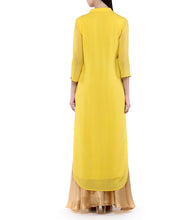 Yellow Georgette Mirror Work Kurta