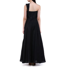 Black Dupion Silk Gown