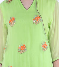 Green Georgette Sequined Flap Kurta