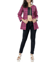 Purple & Black Silk Printed Jacket With Bustier & Pants