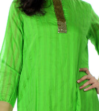 Lime Green ChandEri Hand Work Sequence Embroidered Kurti