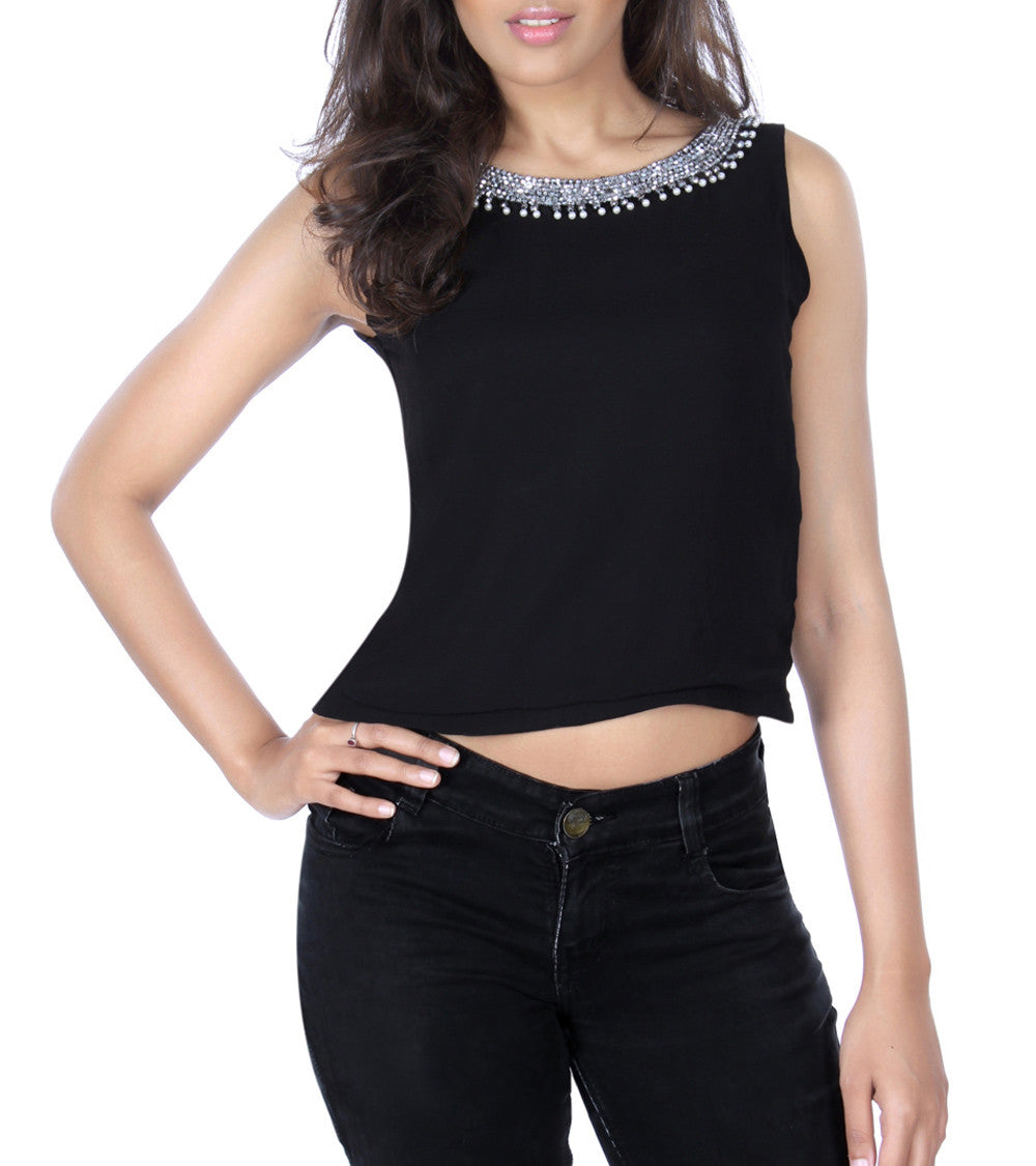 Black Georgette Solid With Embroidered Top