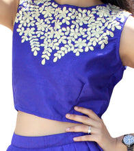Blue Silk Embroidered Crop Top With Skirt