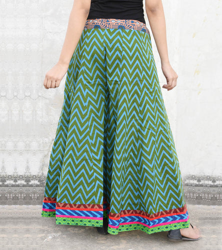 Green Cotton Printed Palazzos