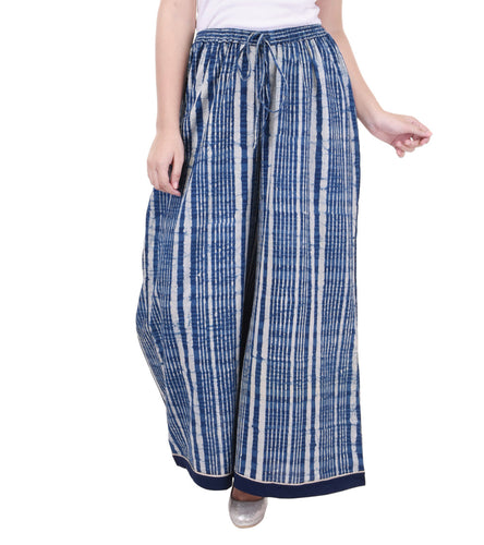 Indigo Cotton Printed Palazzos