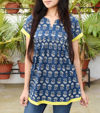Indigo Cotton Printed Tunic
