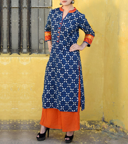 Indigo Cotton Embroidered Kurti