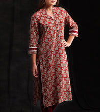 Red Cotton Printed Kurti