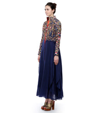 Blue Cotton Silk Embroidered Long Sleeves Gown