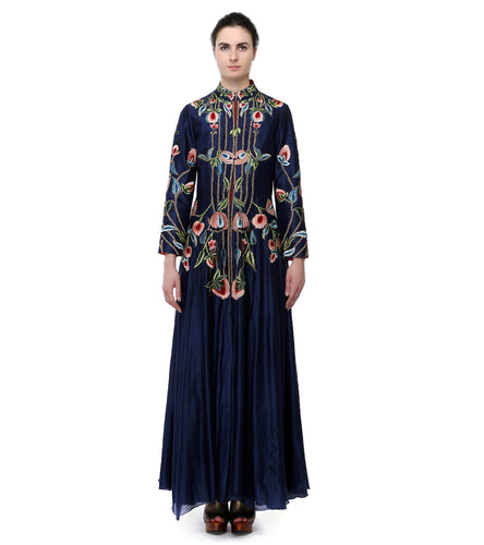 Blue Cotton Silk Embroidered Front Open Gown