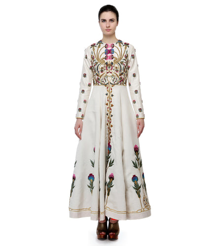 Golden Cotton Silk Embroidered Front Open Gown