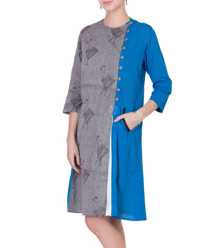 Grey Mangalgiri & South Cotton Block Printed Tunic