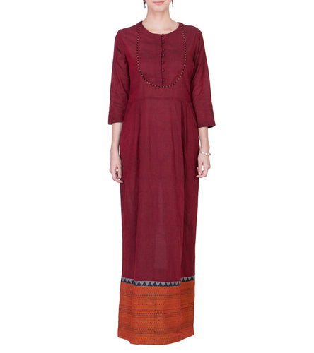 Maroon Cotton Block Printed Maxi