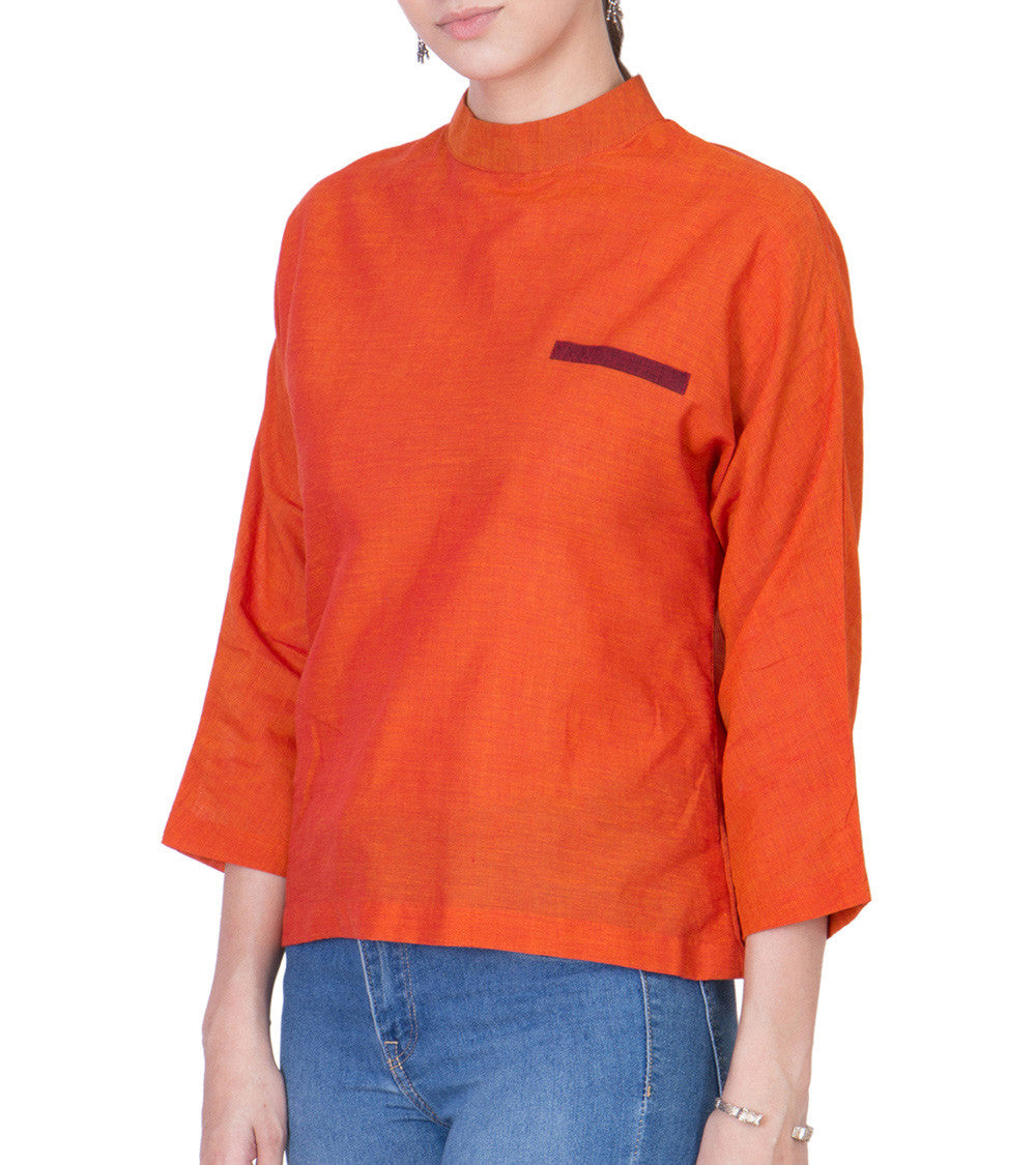Orange Mangalgiri Cotton Block Printed Top