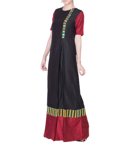 Black & Maroon Cotton Silk Block Printed Maxi