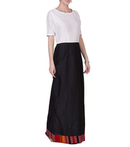 Black & White Cotton Silk Block Printed Maxi