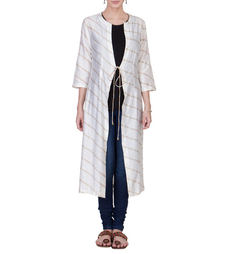 Off White Cotton Silk Block Printed Wrap