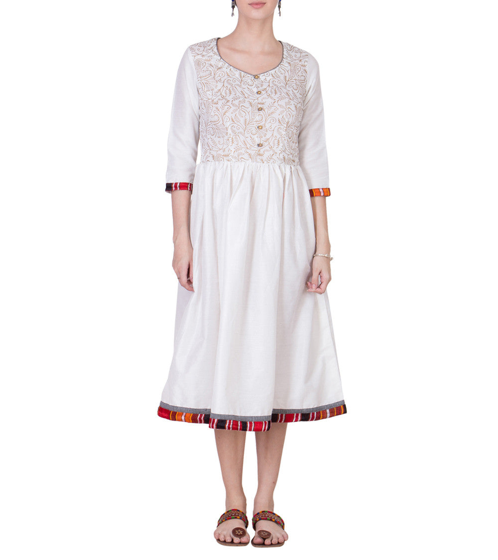 Off White Cotton Silk Block Printed Dress