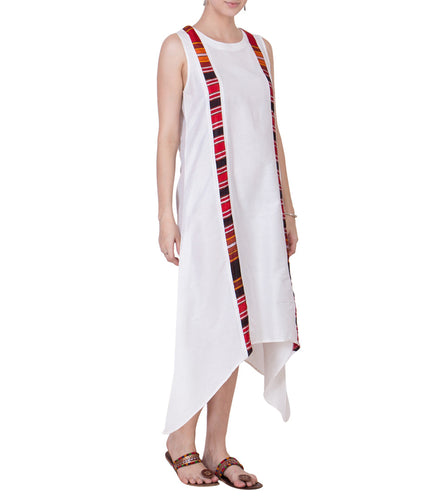 White Cotton Silk Block Printed Tunic
