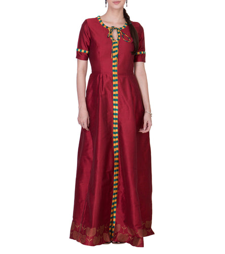 Maroon Cotton Silk Block Printed Maxi