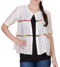 Ecru & Off White Chanderi Block Printed Shrug