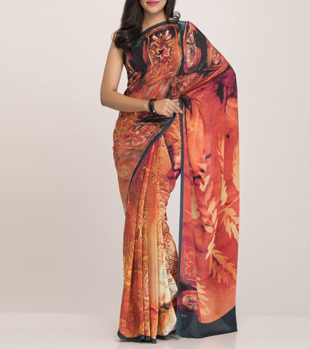 Rust Crepe Printed Saree With Blouse Piece