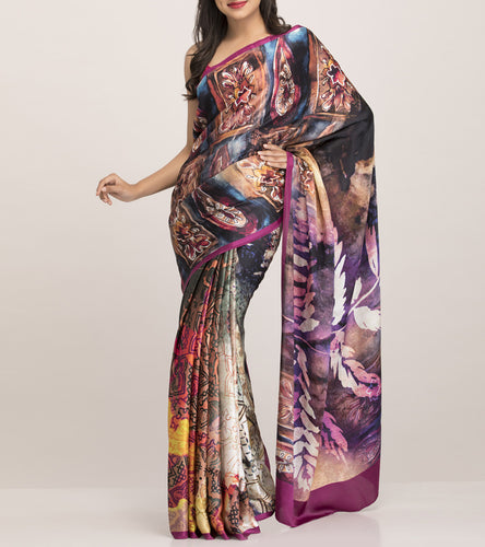 Purple Satin Printed Saree With Blouse Piece