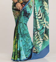 Blue Crepe Printed Saree With Blouse Piece