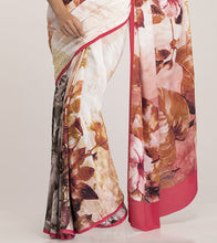 Pink & Cream Crepe Printed Saree With Blouse Piece