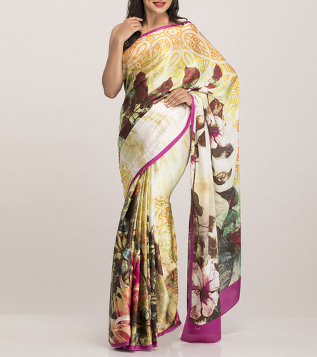 Purple & Cream Crepe Printed Saree With Blouse Piece