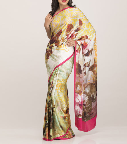 Fushcia & Cream Crepe Printed Saree With Blouse Piece