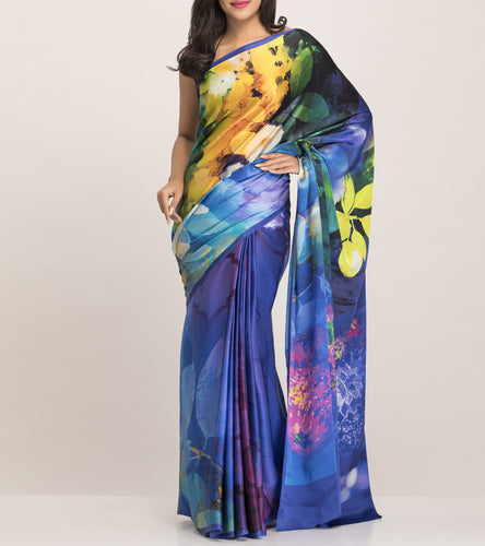 Blue Satin Printed Saree With Blouse Piece
