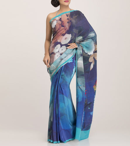 Turquoise Crepe Printed Saree With Blouse Piece