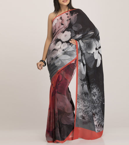 Red & Black Crepe Printed Saree With Blouse Piece