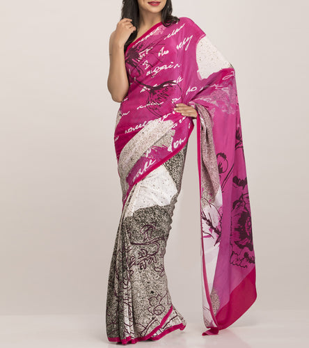 Blue & Off White Satin Printed Saree With Blouse Piece