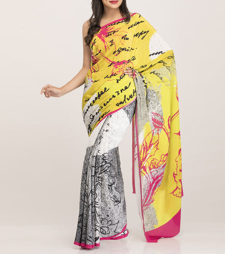 Yellow & Cream Satin Printed Saree With Blouse Piece