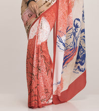 Coral & Cream Crepe Printed Saree With Blouse Piece