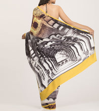 Yellow & White Crepe Printed Saree With Blouse Piece
