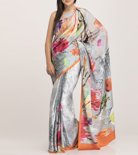 Grey & Orange Satin Printed Saree With Blouse Piece