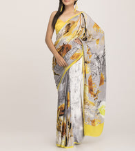 Yellow & Grey Satin Printed Saree With Blouse Piece