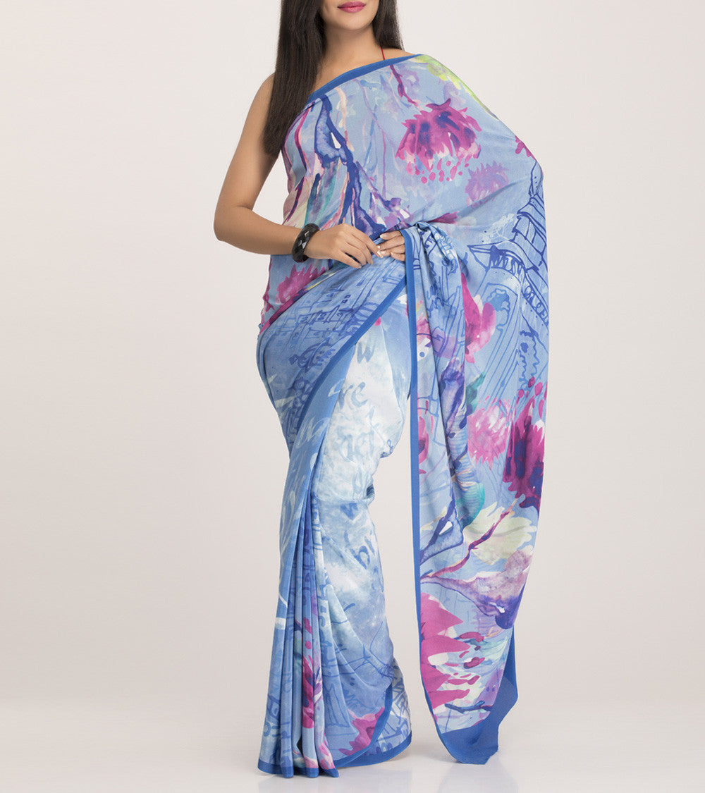 Blue & Grey Crepe Printed Saree With Blouse Piece