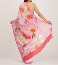 Pink & Grey Crepe Printed Saree With Blouse Piece