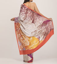 Rust & Cream Crepe Printed Saree With Blouse Piece