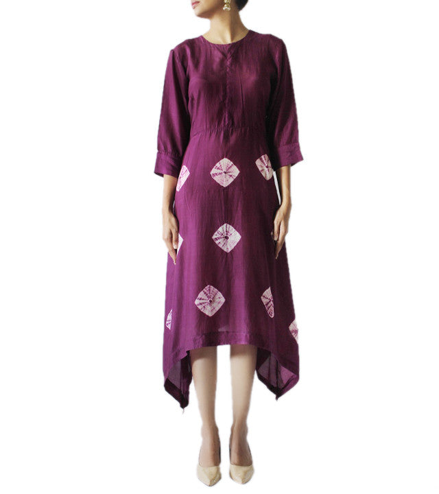 Purple Cotton Silk Hand Tied Bandhej Pattern Kurti