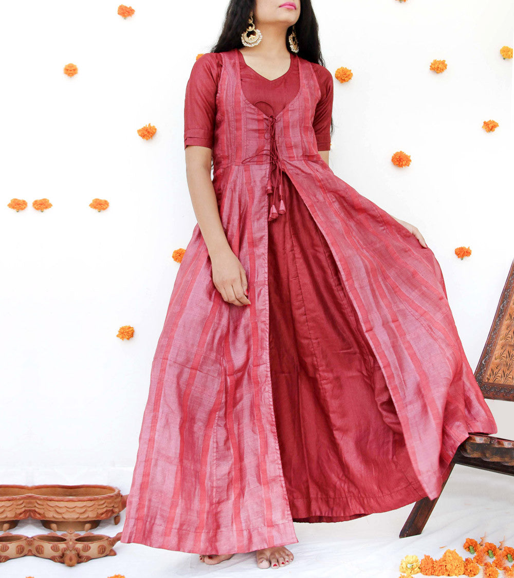 Maroon Silk Gown With Jacket