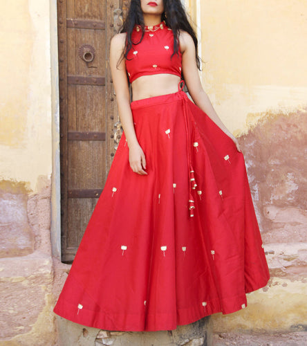 Red Chanderi Zari Work Lehenga Set With Blouse & Cotton lining