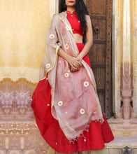 Red Chanderi Zari Work Lehenga Set