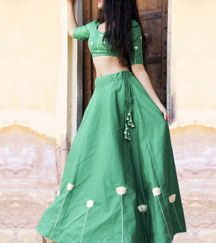 Green Chanderi Zari Work Lehenga & Blouse Set