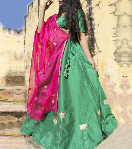 Green Chanderi Zari Work Lehenga Set With Dupatta
